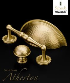 Schaub and Company's popular Atherton collection of cabinet hardware in Satin Brass.