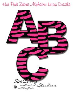 Hot Pink Zebra Alphabet letters wall art decals for teen girls, kids room, baby nursery, and childrens bedroom. Personalize a NAME or your favorite SAYING #decampstudios
