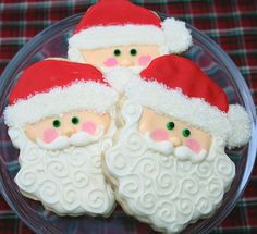 A few Santa cookies to get you in the Christmas spirit! Santa Cookies, Christmas Sugar Cookies, Iced Cookies, Christmas Sweets, Cute Cookies, Christmas Goodies, Holiday Cookies, Holiday Treats, Christmas Cakes