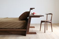 Multipurpose bed with headboard that is also a desk | Hirashima in Japan | OEN