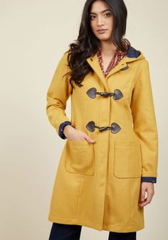 Theater Greetings Coat in Saffron by ModCloth - Yellow, Solid, Pockets, Casual, 70s, Rustic, Fall, Exclusives, Variation, Private Label, Long, Winter, Woven, Better, Saturated, 3, ModCloth Label, Best Seller, Best Seller