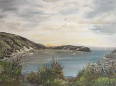 Buy Greeting the sun at Lulworth Cove, Acrylic painting by Marja Brown on…