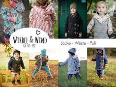 """Wirbel & Wind"" - Jacke/Weste/Pulli Gr. 62 - 152 - Nähanleitungen bei Makerist"