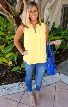 Stitch fix stylist: received this once and sent it back. Kind of regret it now Stitch Fix 41 Hawthorn Breyson Split-Neck Blouse - love the yellow! Casual Outfits, Cute Outfits, Fashion Outfits, Womens Fashion, Fashion Tips, Mom Fashion, Fashion Ideas, Fashion Clothes, Dress Casual