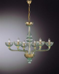 Venetian Chandelier with 6 Arms and Green Accents