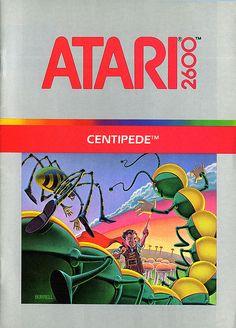 Atari - Centipede by Joe Kral, cx 2676 Vintage Video Games, Classic Video Games, Retro Video Games, Video Game Art, Retro Games, Nintendo, Childhood Toys, Childhood Memories, Donkey Kong