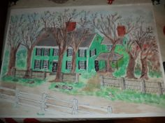 Old New England Colonial Watercolor Painting #Art #Sale