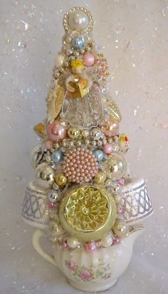 Vintage Pink Feather Bottle Brush Tree Glass Ornaments Creamer Planter Shabby | eBay