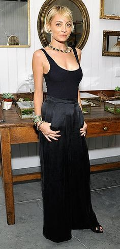 Nicole Richie in a black tank and satin wide-leg pants - click through for more of the best celebrity style of the week