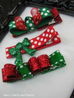 Christmas hair clips. Cute