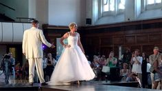 Our 'Snow Queen' on the catwalk with a silver gown for hire from DMJ Weddings