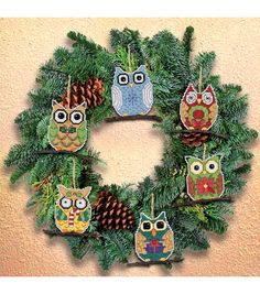 Janlynn Counted Cross Stitch Kit Owl Ornaments, , hi-res