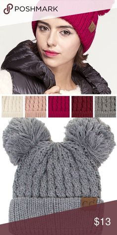 C size OS Hats at a discounted price at Poshmark.C Light Melange Grey  Double Pom Pom Beanie Hat. 352849002f37