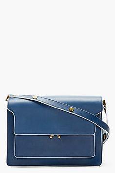MARNI Blue Leather Small Shoulder Bag