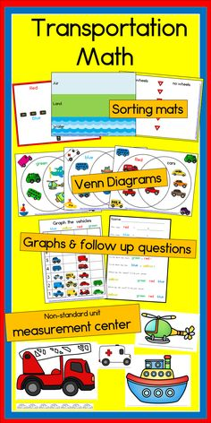 Huge collection of vehicles and math activities to do with them! TpT$