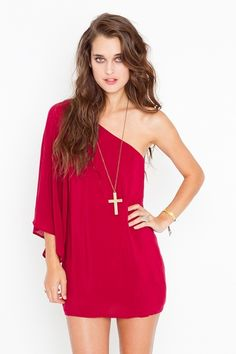 Serious Flare Dress - Crimson