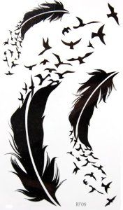 """GGSELL KING HORSE New design Goose and feather temporary tattoo stickers by King Horse. $3.54. Our temporary tattoos are certified by F.D.A, EN71, ASTM, safe and non-toxic. It's high quality with fashion designs that are fake, but look real on the skin, they are 100% waterproof and can last up to 7 days. Easy on easy off, they can be removed with baby oil or rubbing alcohol. Product Dimensions : 8.07"""" x 3.94"""" Inches Weight : 0.18 ounces/pcs"""