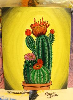 "8x10"" Cacti Garden-Original Painting-Acrylic and by AStateofWhimsy Accepts custom orders."