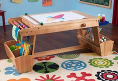 Kids Activity Table With Storage Art Desk Kidkraft Craft Drawing Painting Rack #KidKraft