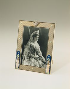 Cartier Frame with Photograph of Alexander Feodorovna  Silver, diamonds