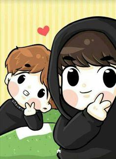 Baekhyun Fanart, Chanbaek Fanart, Exo Chanbaek, Exo Kokobop, Chanyeol, Exo Cartoon, Nct Kun, Chibi Wallpaper, Exo Couple