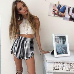 black// white striped comfy shorts// white lace cami