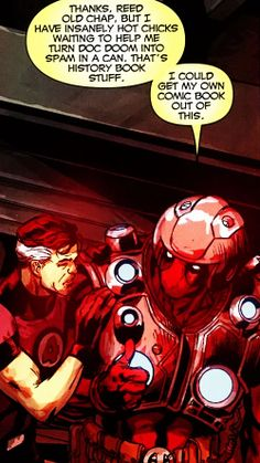 Like someone would ever read a Deadpool-themed comic… [Doomwar Deadpool Love, Deadpool Funny, Deadpool And Spiderman, Lady Deadpool, Deadpool Videos, Batman, Comic Book Characters, Marvel Characters, Comic Character