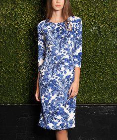 Another great find on #zulily! emploi New York Dali Flower Blue Lexington Dress by emploi New York #zulilyfinds