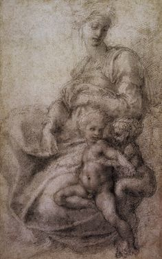 Madonna, Child and St.John the Baptist, Michelangelo Buonarroti