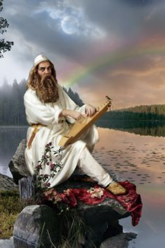 Väinämöinen- Finnish myth: the first man and god of chants, songs and poetry. His mother was Ilmatar and his father the sea. He was there at the beginning of creation. He was in his mothers womb for 730 years. Russian Mythology, Mythology Books, Norse Mythology, Fantasy Races, High Fantasy, Mythological Creatures, Mythical Creatures, Imagine Nation, Eslava