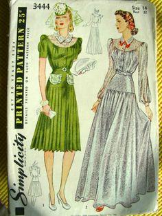 1940's Vintage Sewing Pattern 3444, BEAUTIFUL EVENING DRESS - FF - Bust 32 | eBay