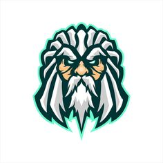 Zeus Head Gaming Mascot Or Twitch Profile Character Model Sheet, Boy Character, Character Template, Green Costumes, Greek Warrior, Avatar Characters, Cartoon Boy, Game Logo, Logo Concept