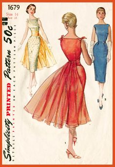 1950s 1960s vintage cocktail wiggle dress sewing pattern Mad Men evening formal…