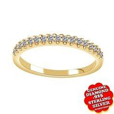 1/10 Ct Genuine Diamond 14K Yellow Gold Over Wedding & Anniversary Band Ring by JewelryHub on Opensky
