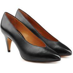Isabel Marant Etoile Leather Pumps (2.820 DKK) ❤ liked on Polyvore featuring shoes, pumps, black, black pumps, kohl shoes, real leather shoes, genuine leather shoes and black leather shoes