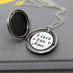 Personalized Locket, Love you Mom Necklace, Mother Necklace, New Mom gift, Personalized Initial Locket, Name Necklace, Gift for Mom, Wife