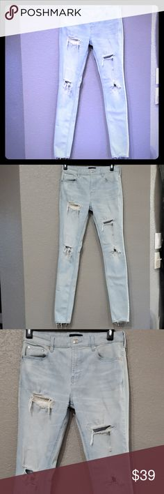 254fc3478ca0a8 Pacsun mens skinny ripped acid light jeans 30x32 Stacked skinny jeans Light  acid destroy Ripped Active