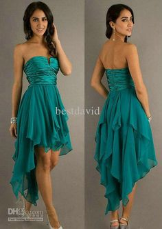 Short Front And Long Back Homecoming Dress 2013 Chiffon Strapless Empire Ruched…