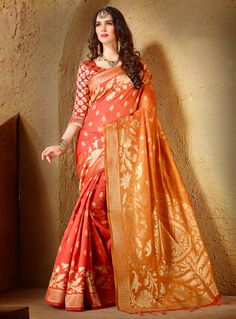 Orange Silk Saree With Blouse 102736