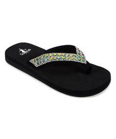 9e08b12136ad2 Corkys Footwear Black Rhinestone Golden Flip-Flop