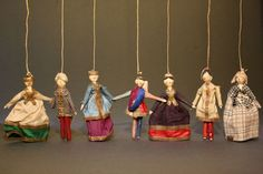 Antique Grodnertal Theater Dolls with Polichinelle - for the French Market