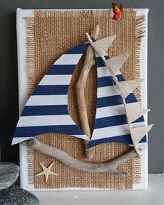 Genuine handcrafted DRIFTWOOD SAIL BOAT on Canvas COASTAL ART by DriftwoodSails Genuine handcrafted DRIFTWOOD SAIL BOAT on Canvas COASTAL ART by DriftwoodSails…<br> Sea Crafts, Seashell Crafts, Nature Crafts, Diy And Crafts, Arts And Crafts, Driftwood Projects, Driftwood Art, Coastal Art, Summer Crafts