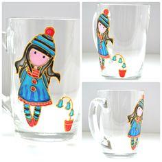 Little princess mug Vitrage painting Pretty Mug Custom Kids Cups Girl Mugs Christmas Coffee Mug Girl Coffee Cup Handpainted Coffee Cup USD 19.00