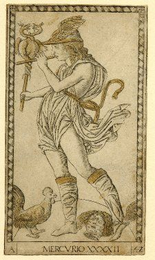 A representation of Hermes/Mercury, c.1465, showing the god with his attributes, including the caduceus. (British Museum)