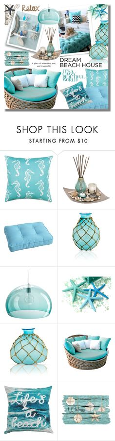 """#319 ~ Vacation Vibes: Dream Beach House"" by cresentia-titi ❤ liked on Polyvore featuring interior, interiors, interior design, home, home decor, interior decorating, Dot & Bo, San Miguel, Pier 1 Imports and Caffco"