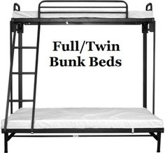 fold up bunk, metal frame for folding, top bed smaller than bottom