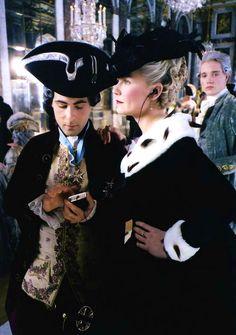 filmchrist: Jason Schwartzman and Kirsten Dunst behind the scenes of Marie Antoinette