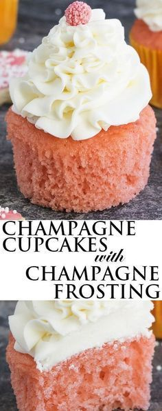 cupcakes rezepte This easy pink CHAMPAGNE CUPCAKES recipe with champagne buttercream frosting is soft, moist and fluffy. These cake mix champagne cupcakes are great for New Year's par Köstliche Desserts, Delicious Desserts, Dessert Recipes, Easy Cupcake Recipes, Picnic Recipes, Cupcake Ideas, Frosting Recipes, Health Desserts, Plated Desserts