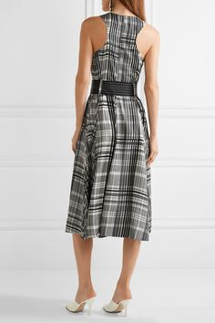 Diane von Furstenberg - Plaid Belted Silk-twill Midi Dress - Gray - US