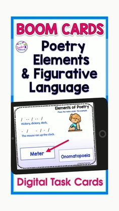 Make Distance Learning easier!Teach poetry elements with distance learning Boom Cards Digital Poetry Figurative Language decks. Featuring Drag & Drop answers & Type the Answer cards. Poetry Elements include: Idioms, Simile, Metaphor, Hyperbole, Personification, Alliteration, Onomatopoeia, Verse, Rhythm, Rhyme, Rhyme Scheme, Meter and Stanza examples. #DistanceLearningTpT #TeacherFeatures #boomcards #boomcards #boomcardselementary #Poetry #PoetryMonth #TpT